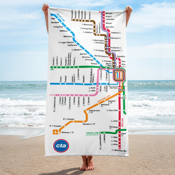 Rail Map Towel