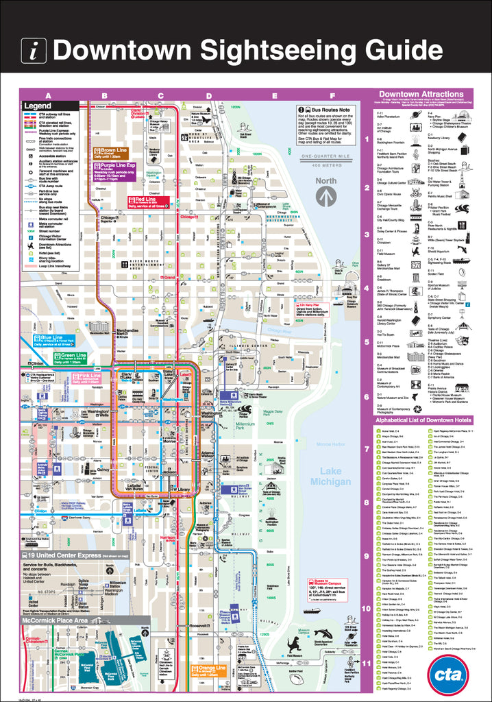 Downtown Sightseeing Guide Print on downtown chicago home, illinois map with hotels, baltimore inner harbor map with hotels, lake michigan map with hotels, san francisco map with hotels, o'hare airport map with hotels,