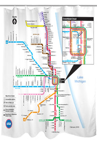 CTA 'L' Rail Map Shower Curtain – CTAGifts.com Chicago L Train Map on