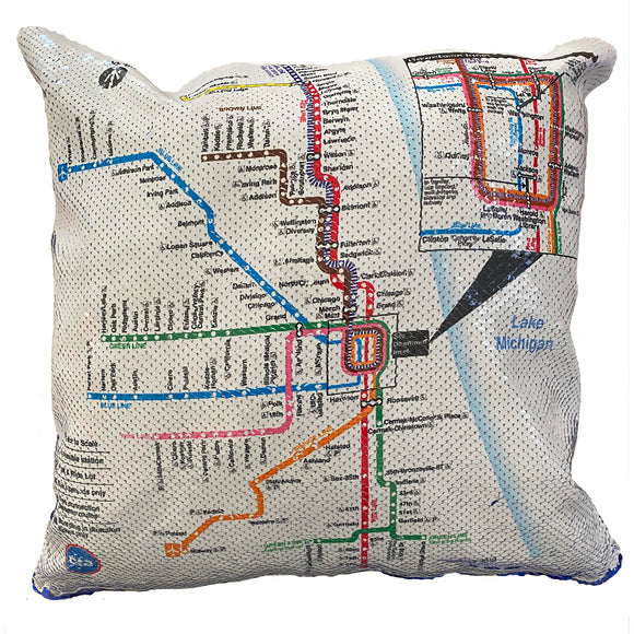 'L' Map Sequin Pillow