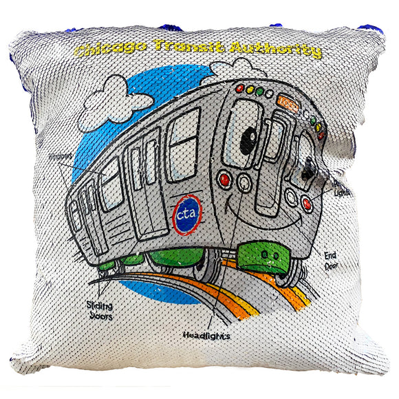 Train Parts Sequin Pillow