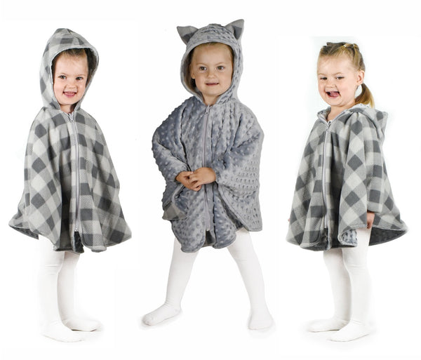 Carseat Poncho -Reversible grey/plaid