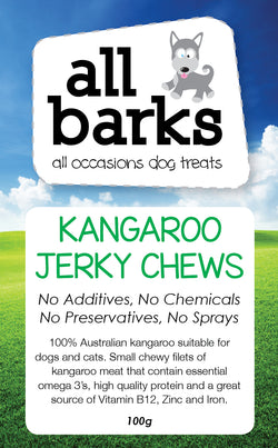 Kangaroo Jerky Chews - Available in 100g bags