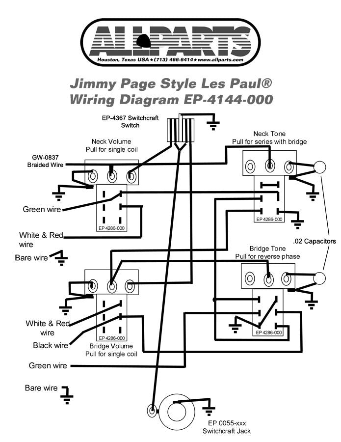 Wiring Kit For Gibsonr Jimmy Page Les Paulr Jaden Guitar Parts