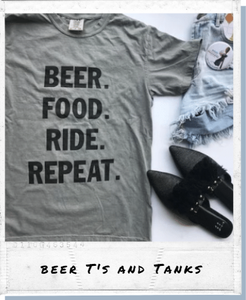 !A Ready To Ship: STATEMENT SERIES: BEER food ride repeat ™️ Tee/Tank