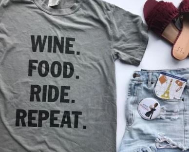 !A Ready To Ship: STATEMENT SERIES: WINE food ride repeat ™️ Tee