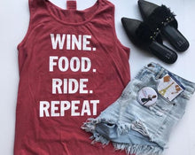 Load image into Gallery viewer, !A Ready To Ship: STATEMENT SERIES: WINE food ride repeat ™️ Tank