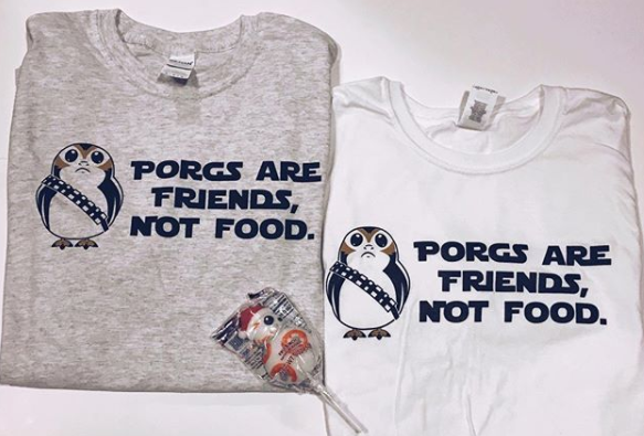 !A Ready To Ship: STATEMENT SERIES: Porg Tee (Gray/White)
