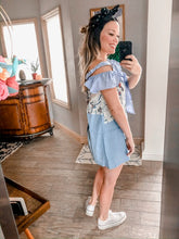 Load image into Gallery viewer, !*Boutique Collection: Denim Patch Bow Tie Dress - RESTOCK SUNDAY 6/7!