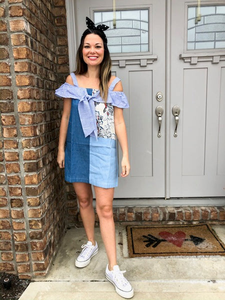 !*Boutique Collection: Denim Patch Bow Tie Dress