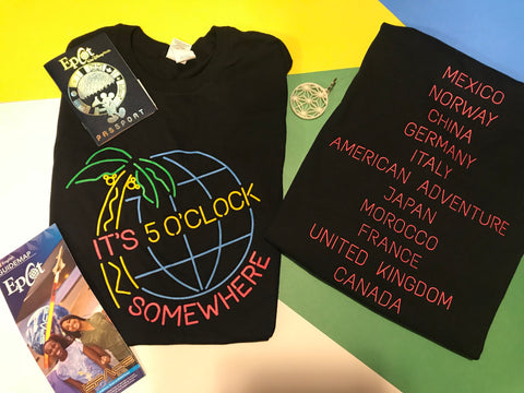 !A Ready To Ship: DOUBLE SIDED SERIES: 5 O'Clock Wine and Food T's/Tanks