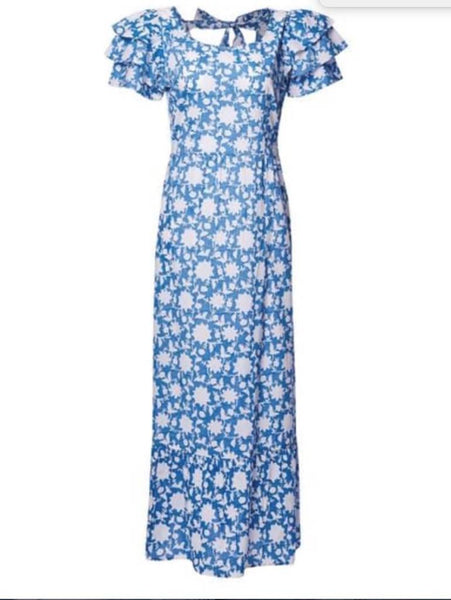 Pink City Prints Blue Flower Dress