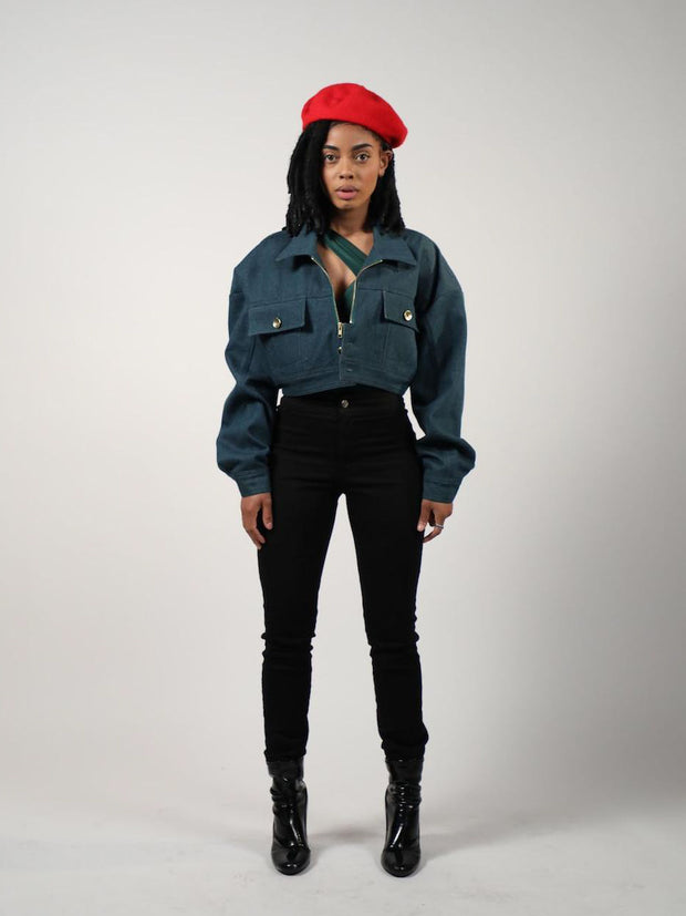 Parisian Chills Cropped Denim Jacket