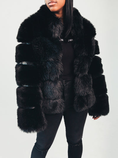 Nina Faux Fur Coat Black
