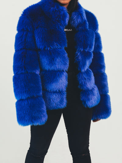 Nina Faux Fur Coat Royal Blue