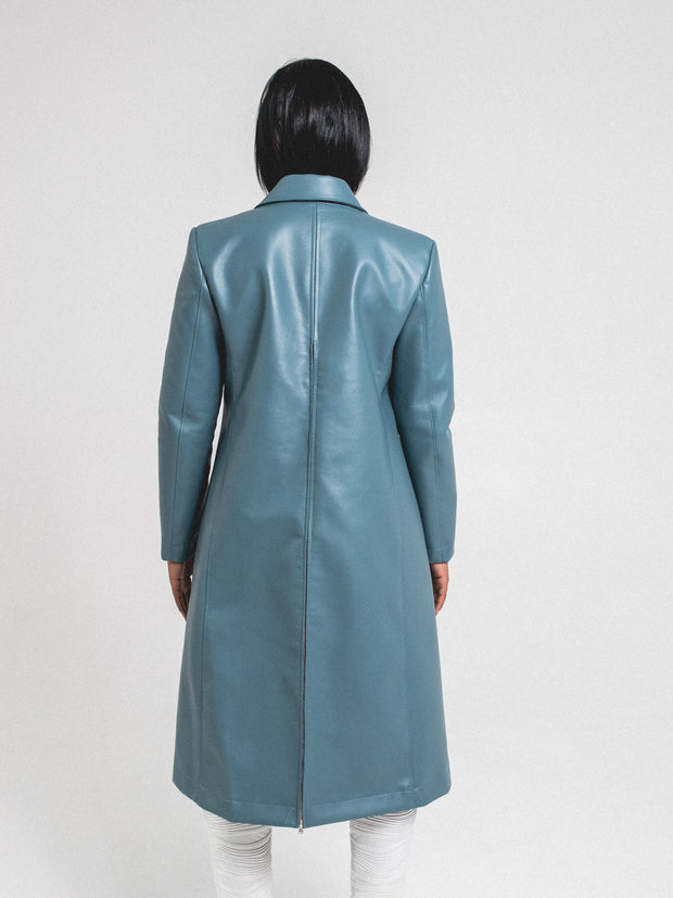 Long Hidden Trench Coat | Blue