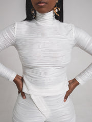 Long Sleeve Textured Turtleneck