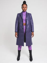 Long Hidden Trench Coat | Purple