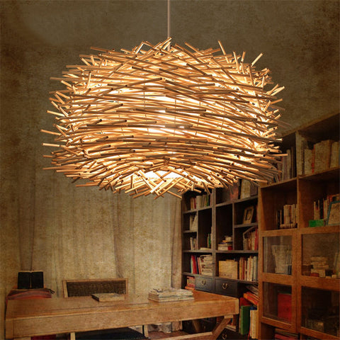 Hand woven rattan bird nest hanging lamps the peach clothespin hand woven rattan bird nest hanging lamps mozeypictures Images