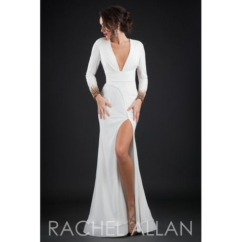 Long sleeve white prom dress