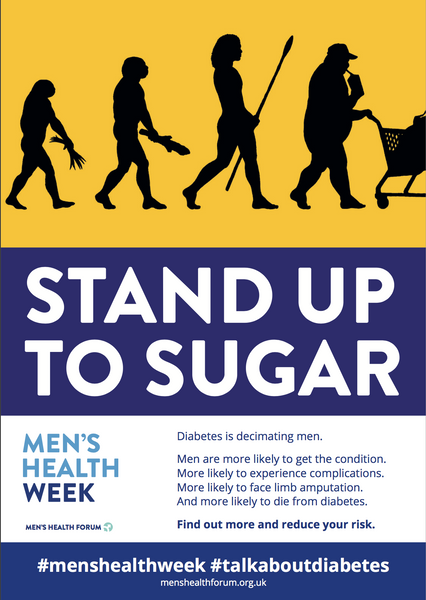 Men's Health Week stand up to sugar diabetes awareness poster for men's health
