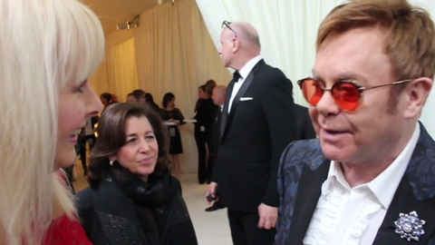 Talking to Sir Elton John at his annual party in LA