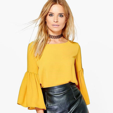 Fashionable yellow flute sleeve top