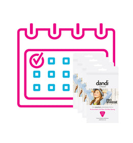 Ladies dandi® patch 4 packs per month subscription.