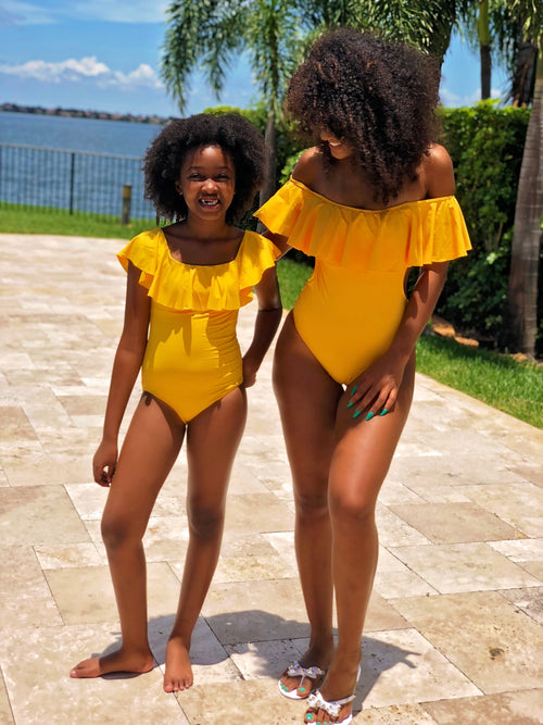 Alivia - Ruffle One Piece Swimsuit - Mustard - Semai House Of fashion