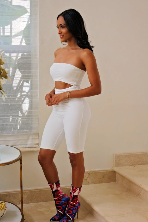 All White Romper Killa - Semai House Of fashion