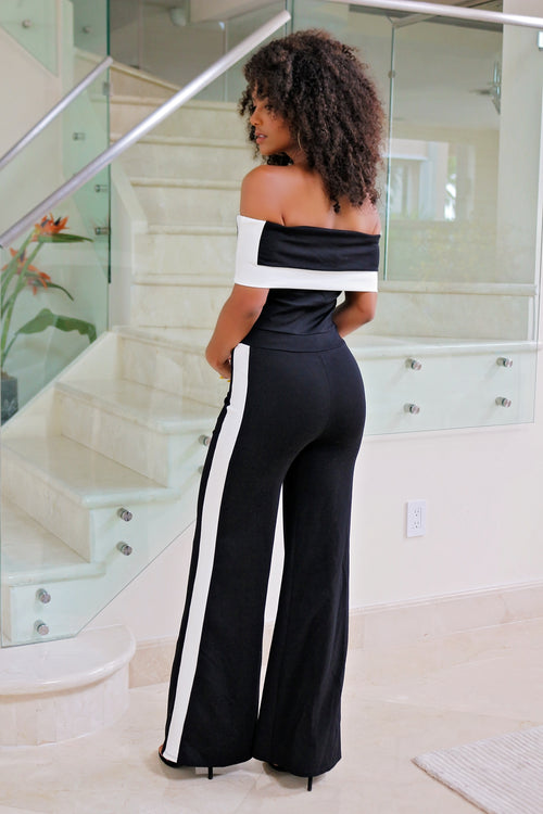 Anita - Off Shoulder Color Block Jumpsuit - Black/White - Semai House Of fashion