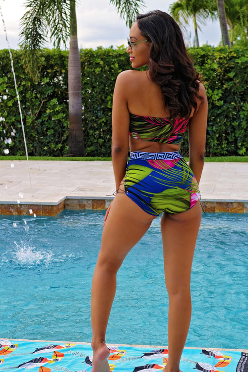 Beach Beauty Tropical Lace Up Swimsuit Set - Semai House Of fashion