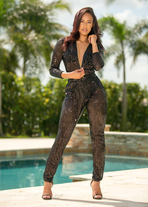 0c733d18f5a Genie - Lights On Black Sequin Jumpsuit - Semai House Of fashion