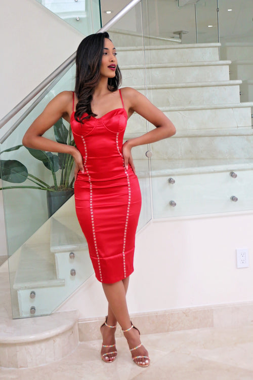 Bold and Sexy Red Midi Dress