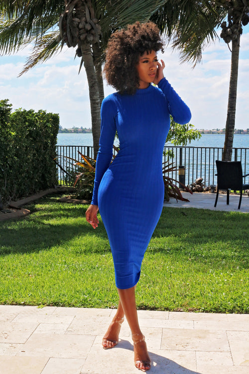 Brighten Your Day Long Sleeve Midi Dress - Blue