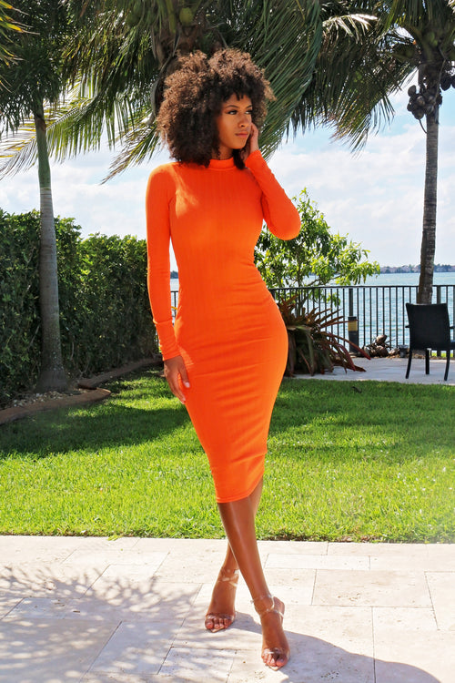 Brighten Your Day Long Sleeve Midi Dress --Orange