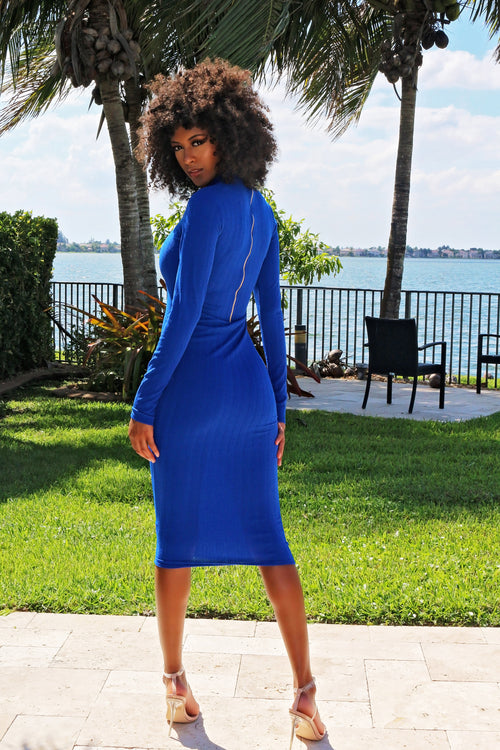 Brighten Your Day Long Sleeve Midi Dress - Blue - Semai House Of fashion