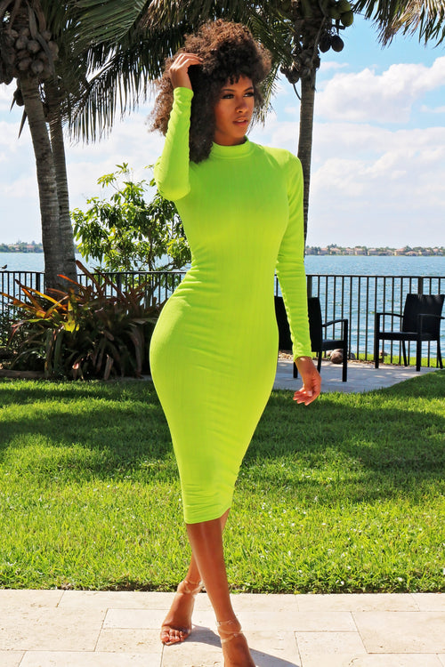 Brighten Your Day Long Sleeve Midi Dress - Lime