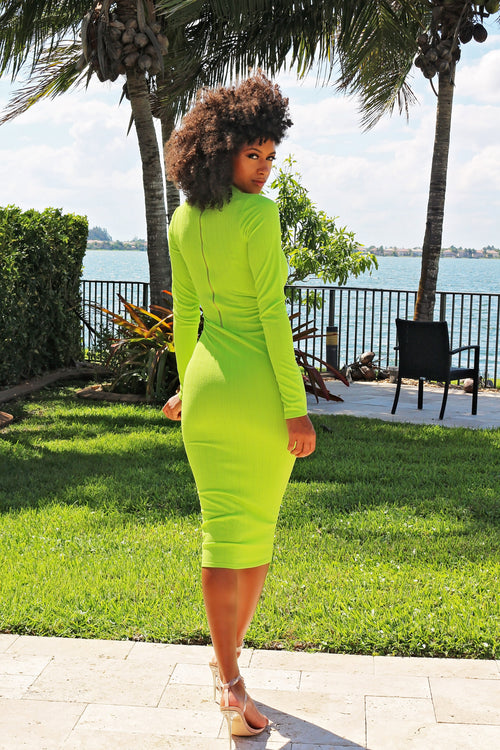 Brighten Your Day Long Sleeve Midi Dress - Lime - Semai House Of fashion