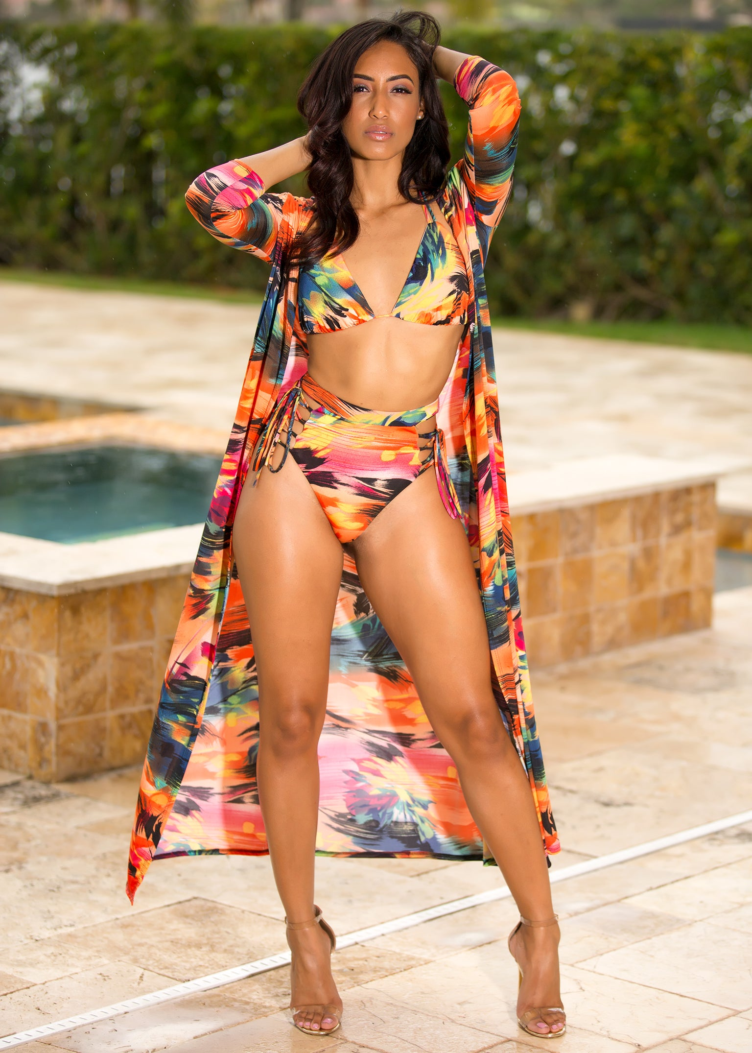 Kalis - Tropical Floral 3 Piece Swimsuit - Semai House Of fashion
