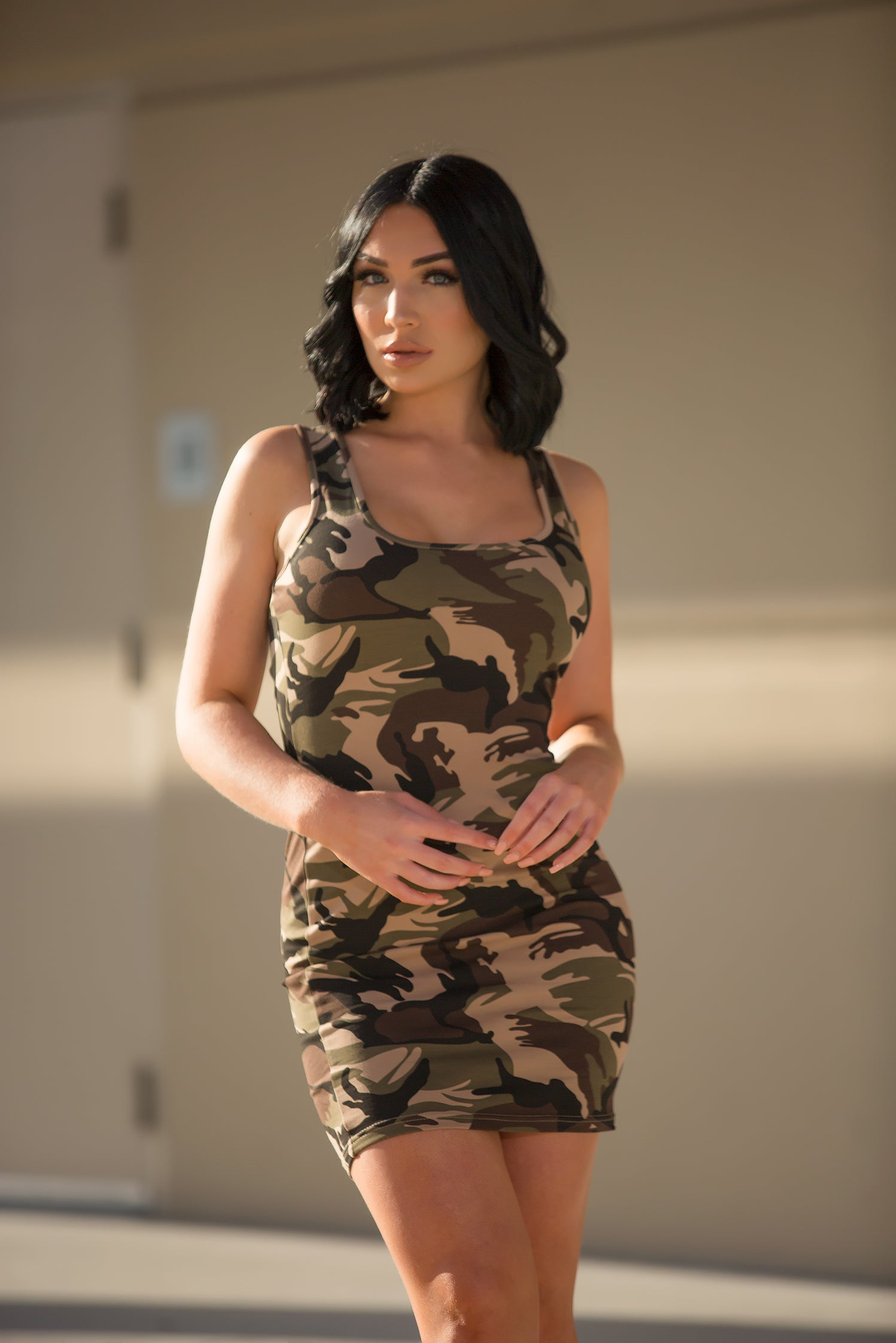 Kristen - Sexy Mini Dress - Camouflage - Semai House Of fashion