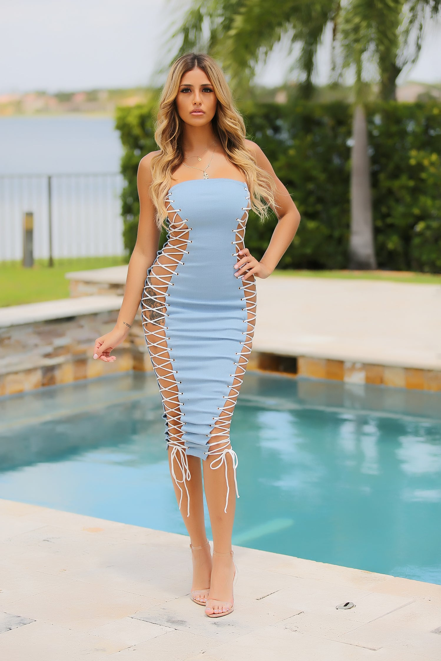 Katya - Denim Fantasy Lace Up Midi Dress - Semai House Of fashion