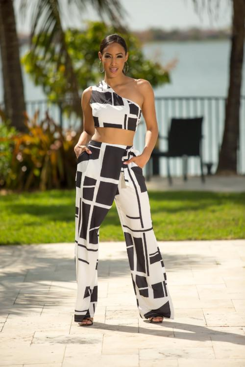 Jocelyn - Dice Color Block Pant Set