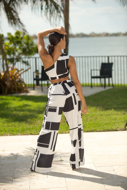 Jocelyn - Dice Color Block Pant Set - Semai House Of fashion