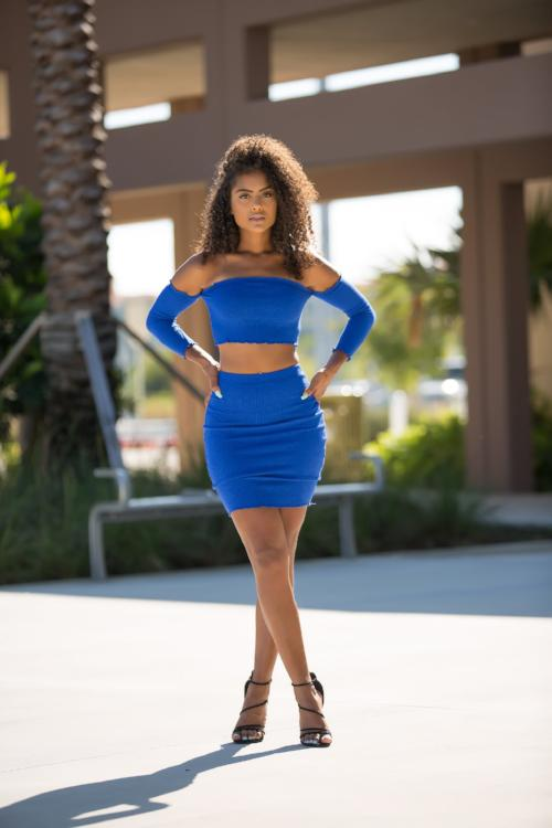 Emma - Self Portrait Mini Skirt Set Blue
