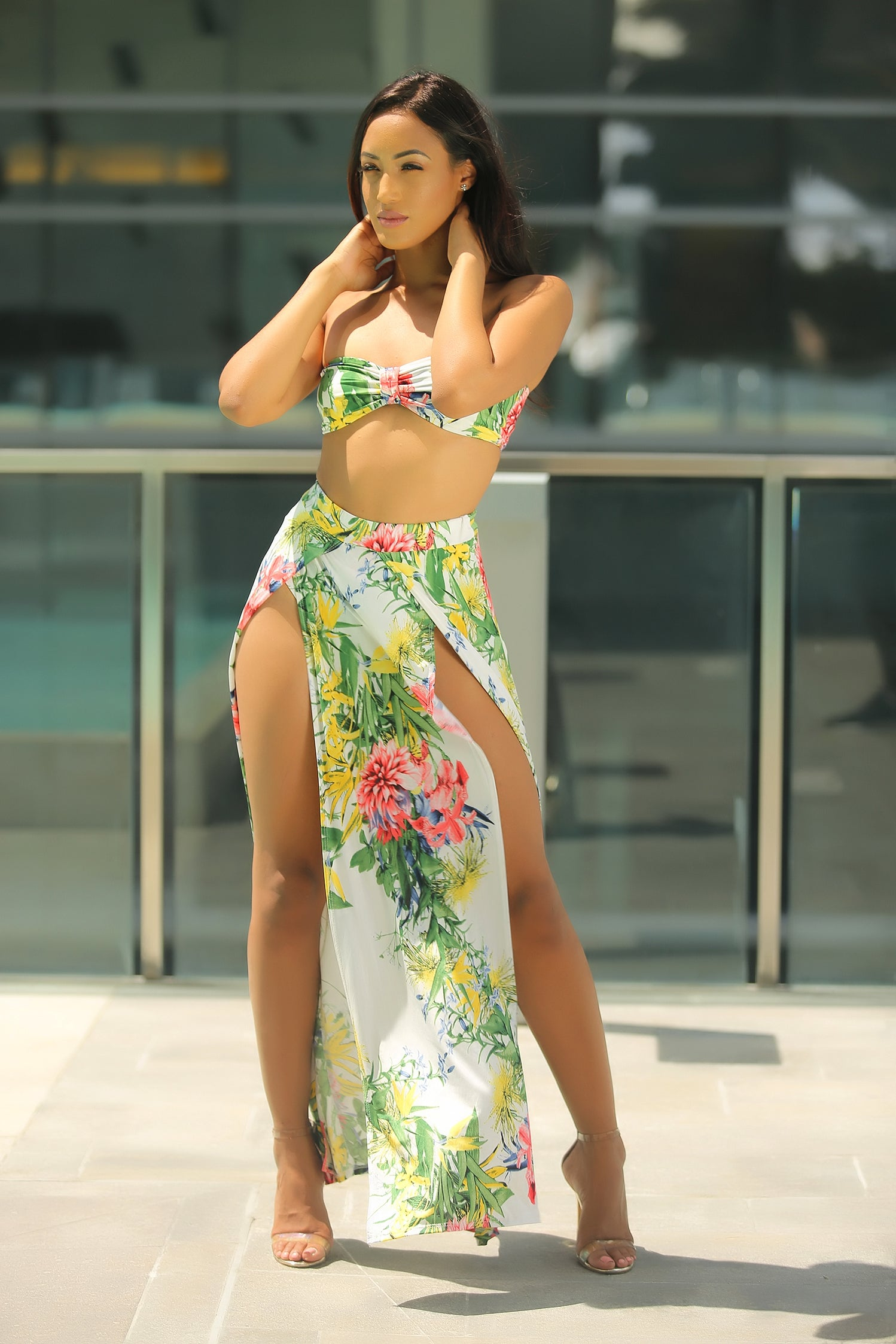 f83033443a4 ... Alice - Exotic Leaves Floral Print Swimsuit Skirt Set - Semai House Of  fashion ...