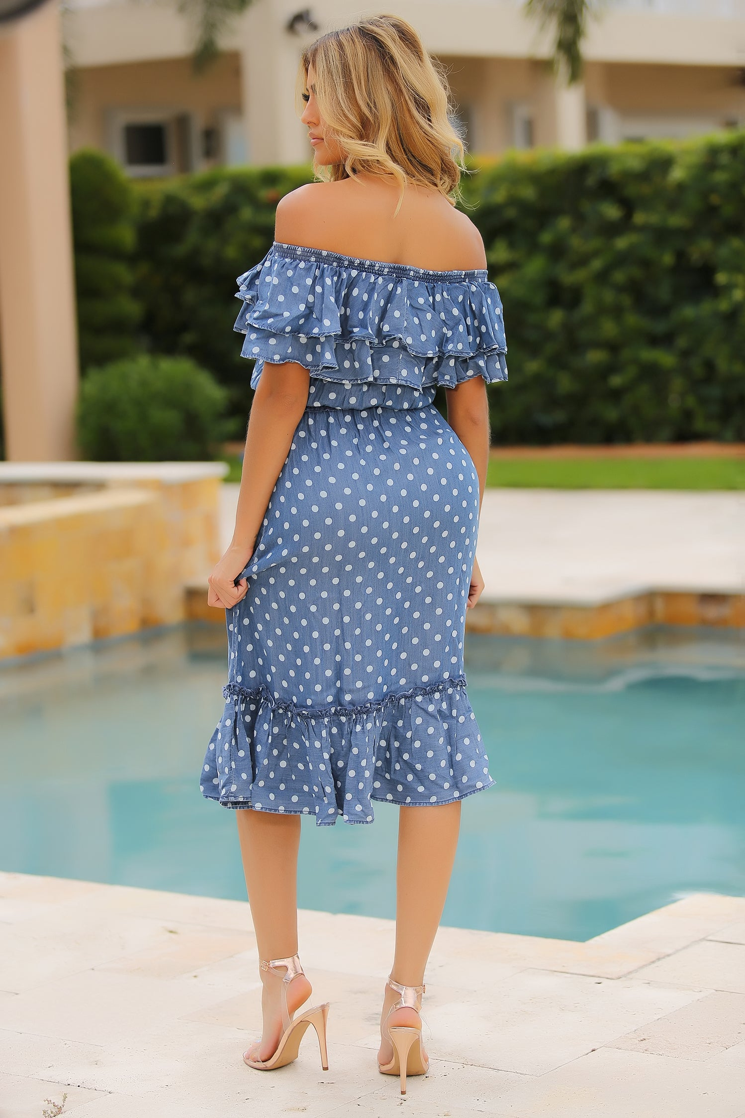 Flaunt That Polka Dot Ruffled Midi Dress - Denim - Semai House Of fashion