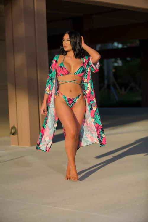 Jessie - Wild Paradise Floral Cardigan Swimsuit - Pink/Combo - Semai House Of fashion