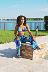 Floral Effect Sunshine Swimsuit Pant Set - Blue - Semai House Of fashion