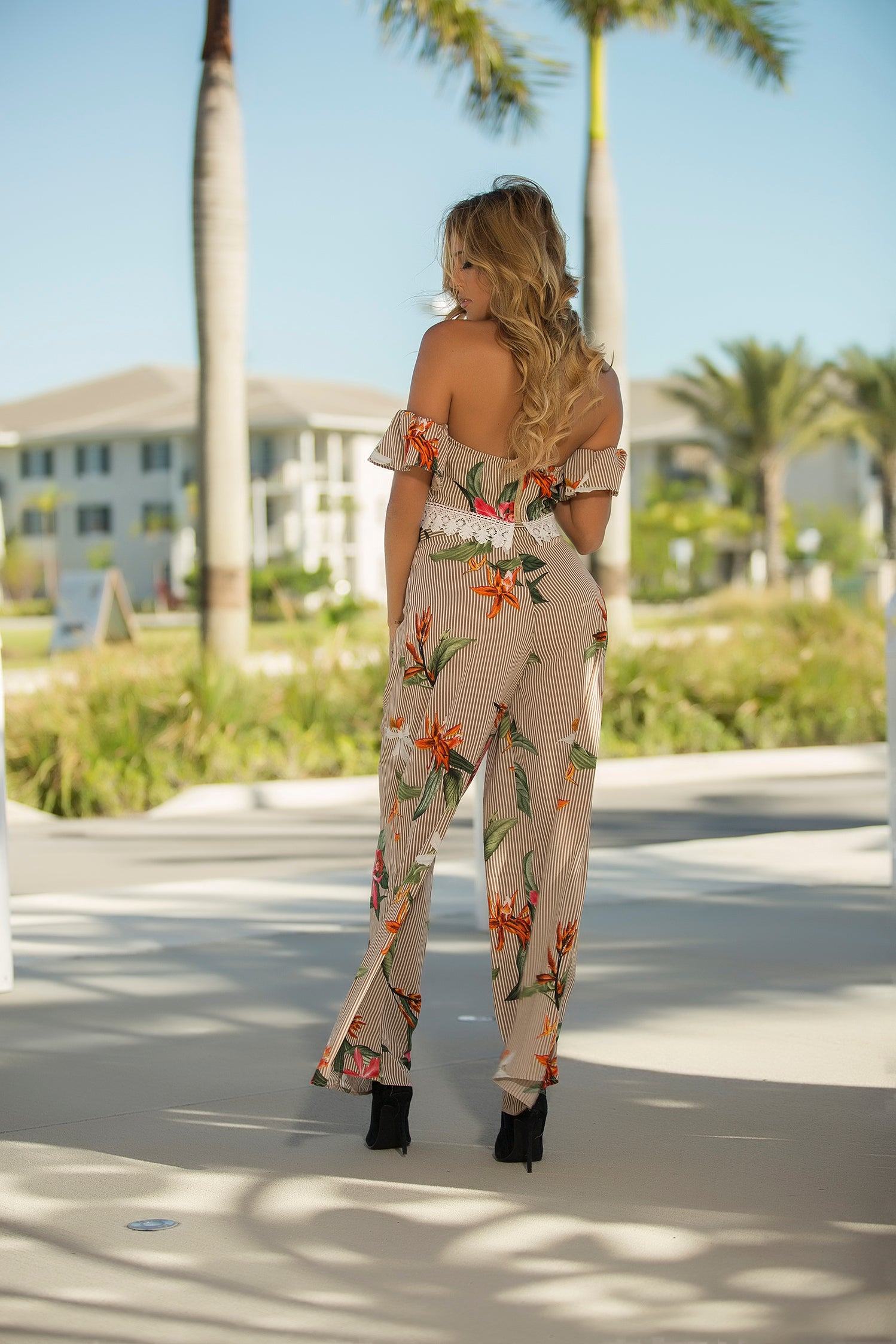 Adriel - Floral Prints and Stripes Pant Set - Semai House Of fashion